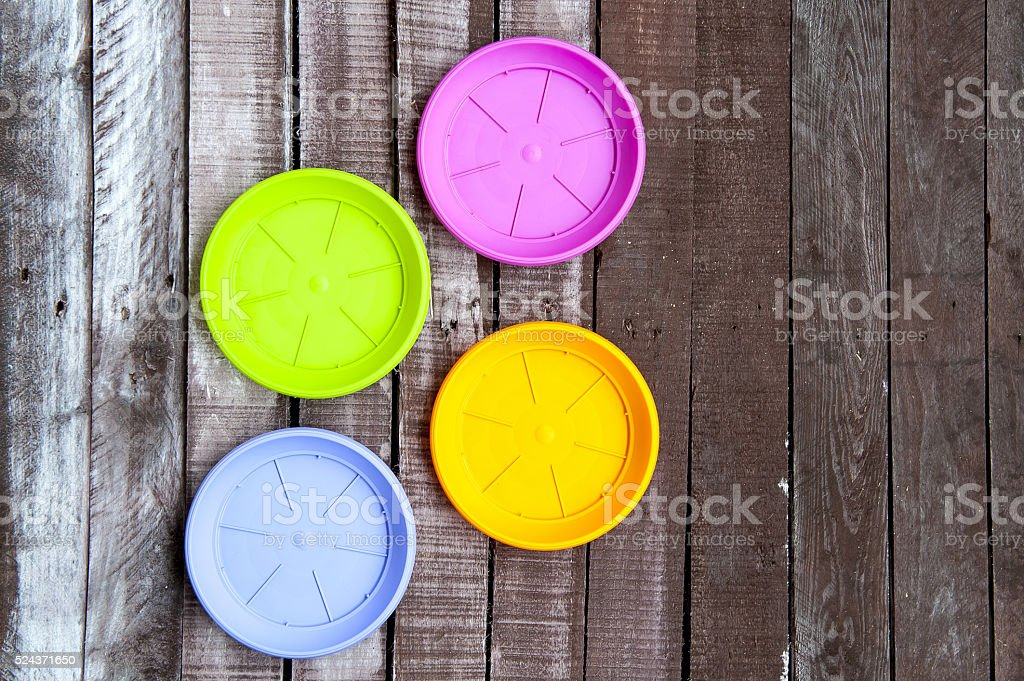 colorful plastic pads stock photo