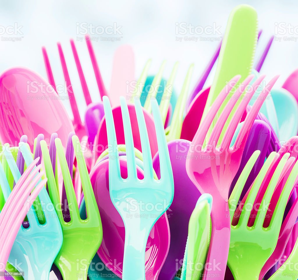 Colorful Plastic Party Cutlery stock photo