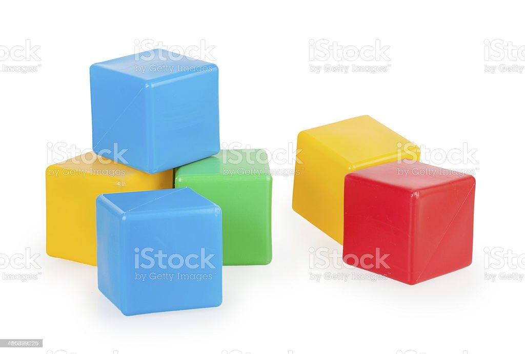 colorful plastic toy blocks stock photo