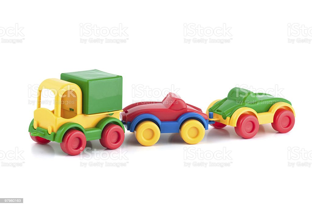Colorful plastic toy train of three elements stock photo