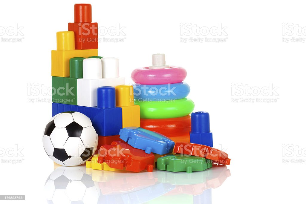 colorful plastic toys stock photo