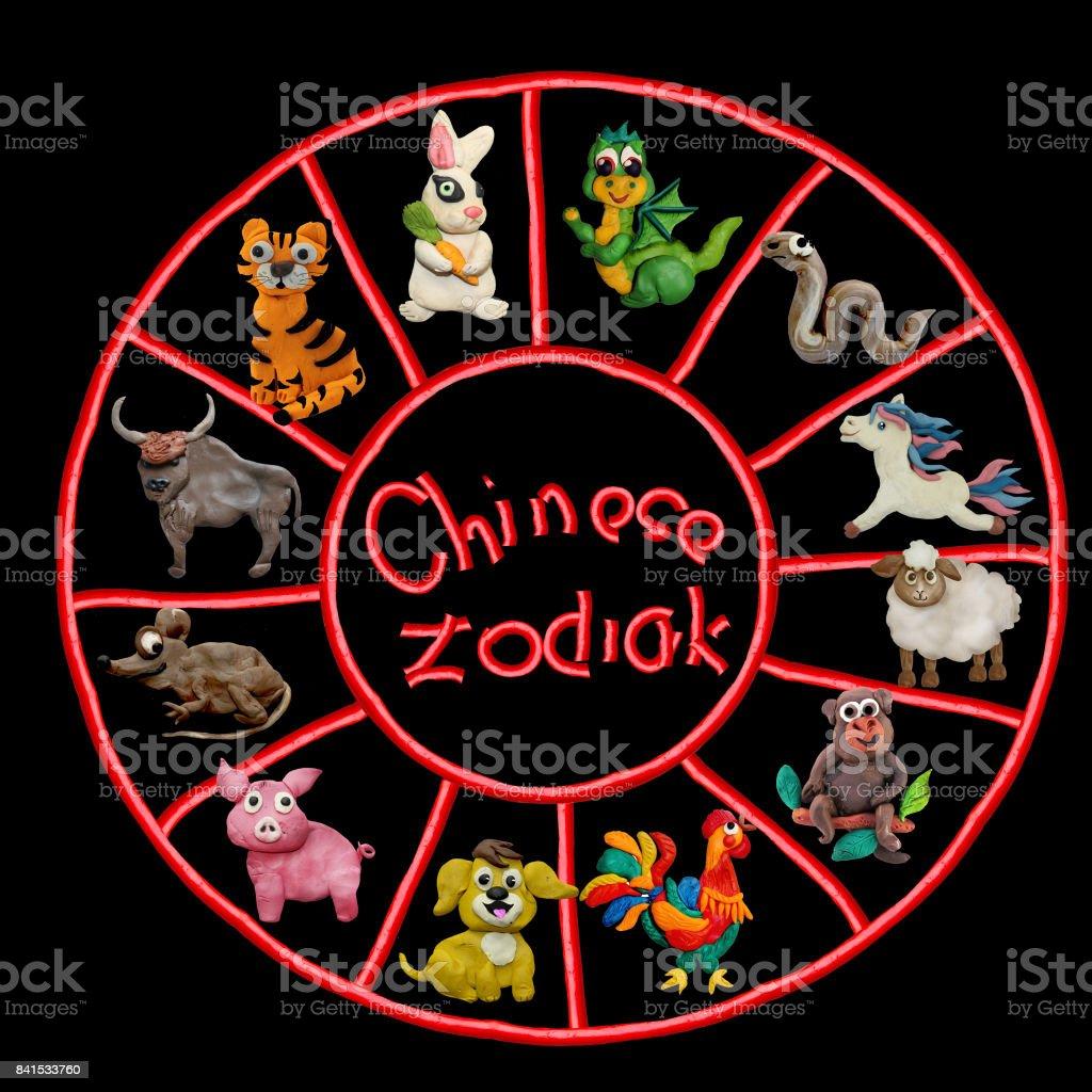 Colorful plasticine 3D Chinese Zodiac animals stock photo