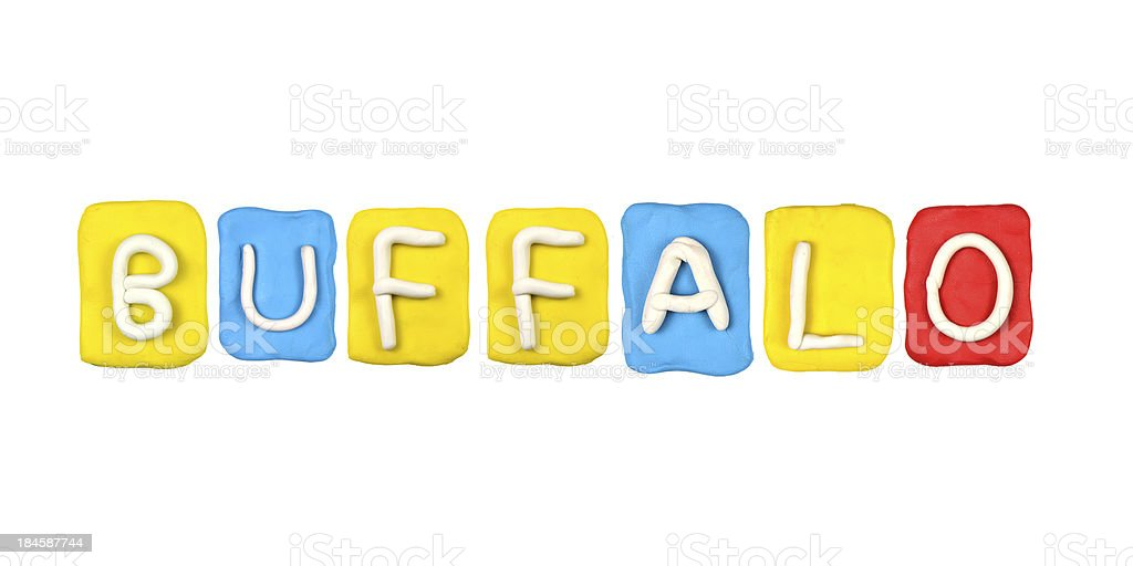 Colorful plasticine alphabet form word BUFFALO stock photo