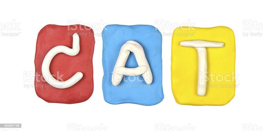 Colorful plasticine alphabet form word CAT royalty-free stock photo
