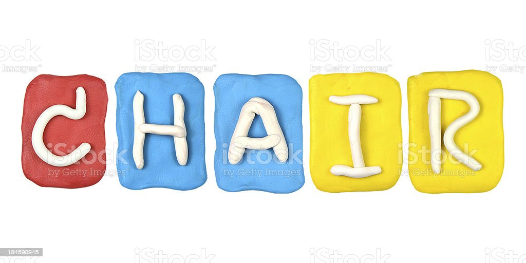Colorful plasticine alphabet form word CHAIR royalty-free stock photo