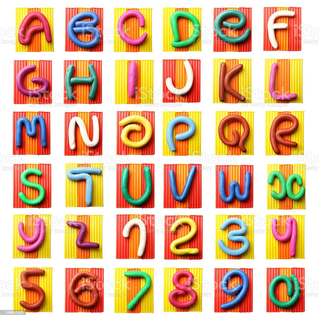 Colorful plasticine alphabet stock photo