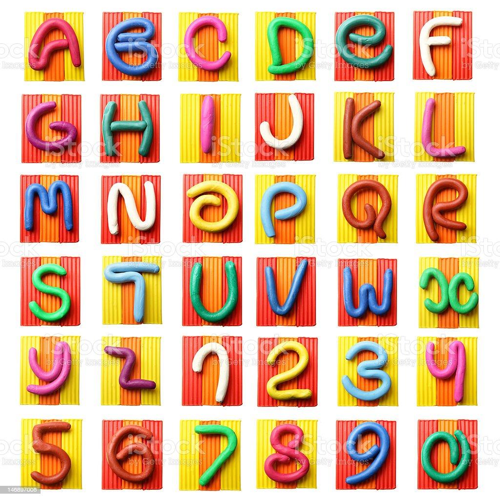 Colorful plasticine alphabet stock photo