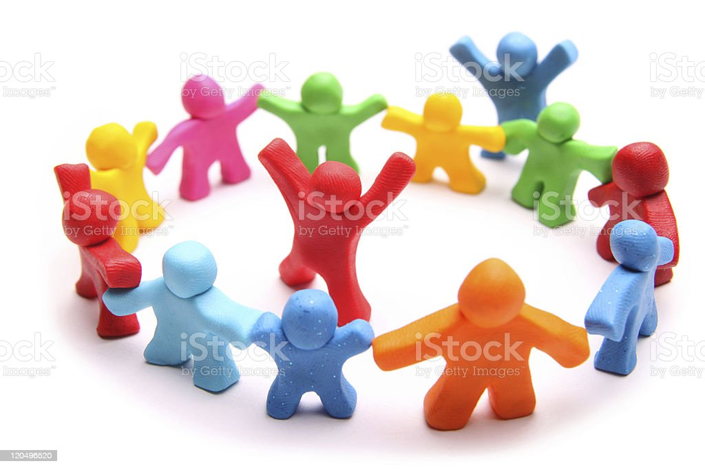 colorful plasticine group playing royalty-free stock photo
