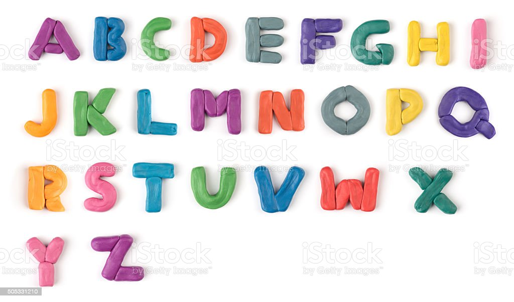 colorful plasticine letters stock photo