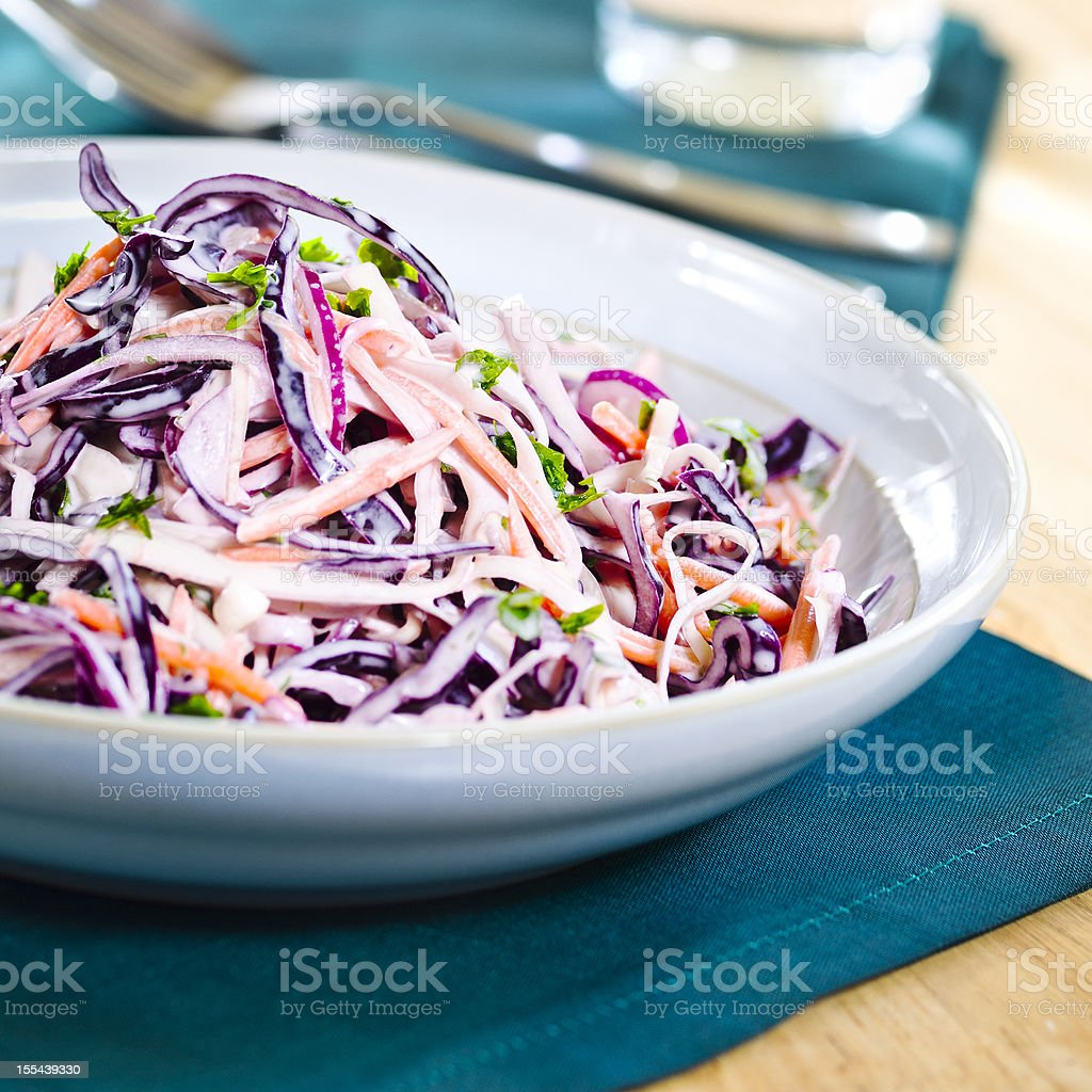 A colorful plate of coleslaw salad stock photo