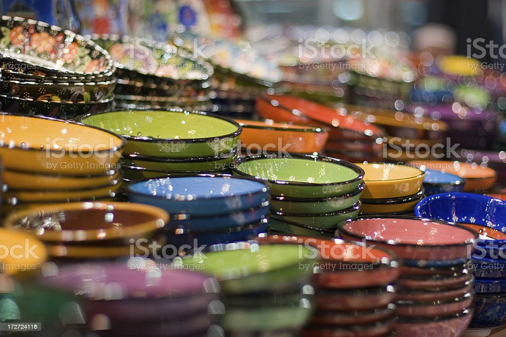 Colorful plates in a shop royalty-free stock photo