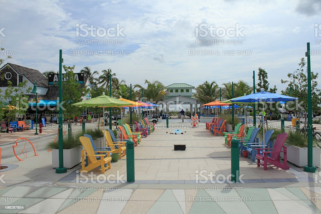 Colorful Plaza in Lauderdale-By-The-Sea Florida stock photo