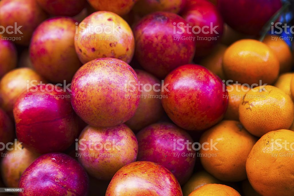 Colorful Plums and Mandarins royalty-free stock photo
