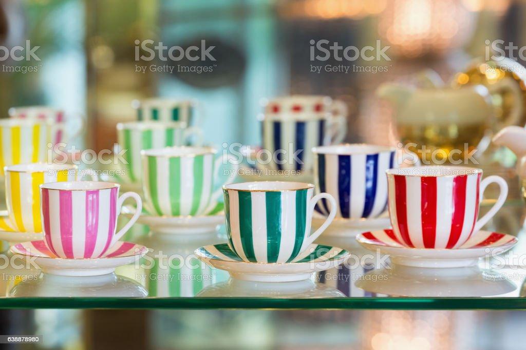 Colorful porcelain tea cups stock photo