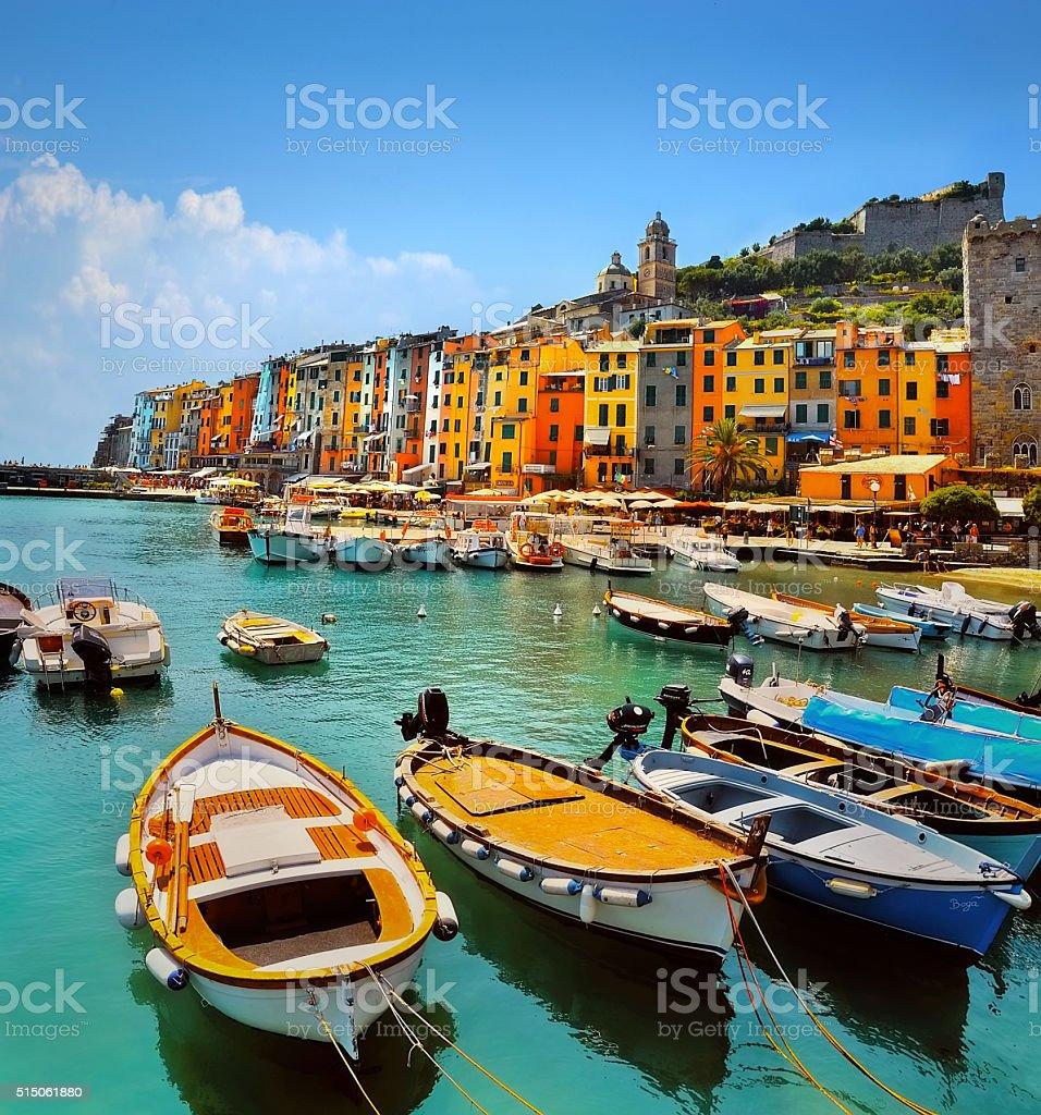 Colorful PortoVenere, Cinque Terre stock photo