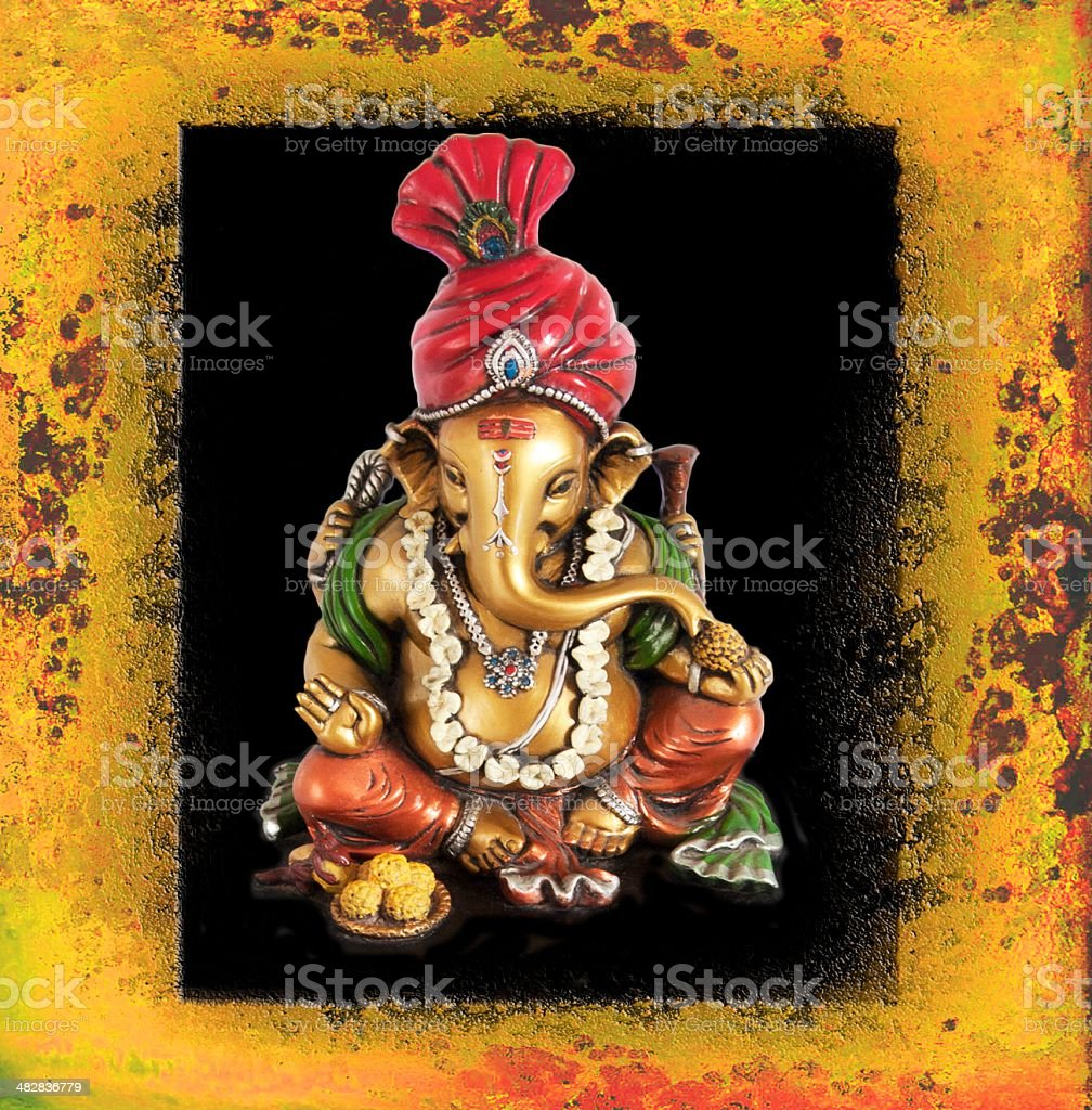 Colorful portrait of Lord Ganesha. stock photo