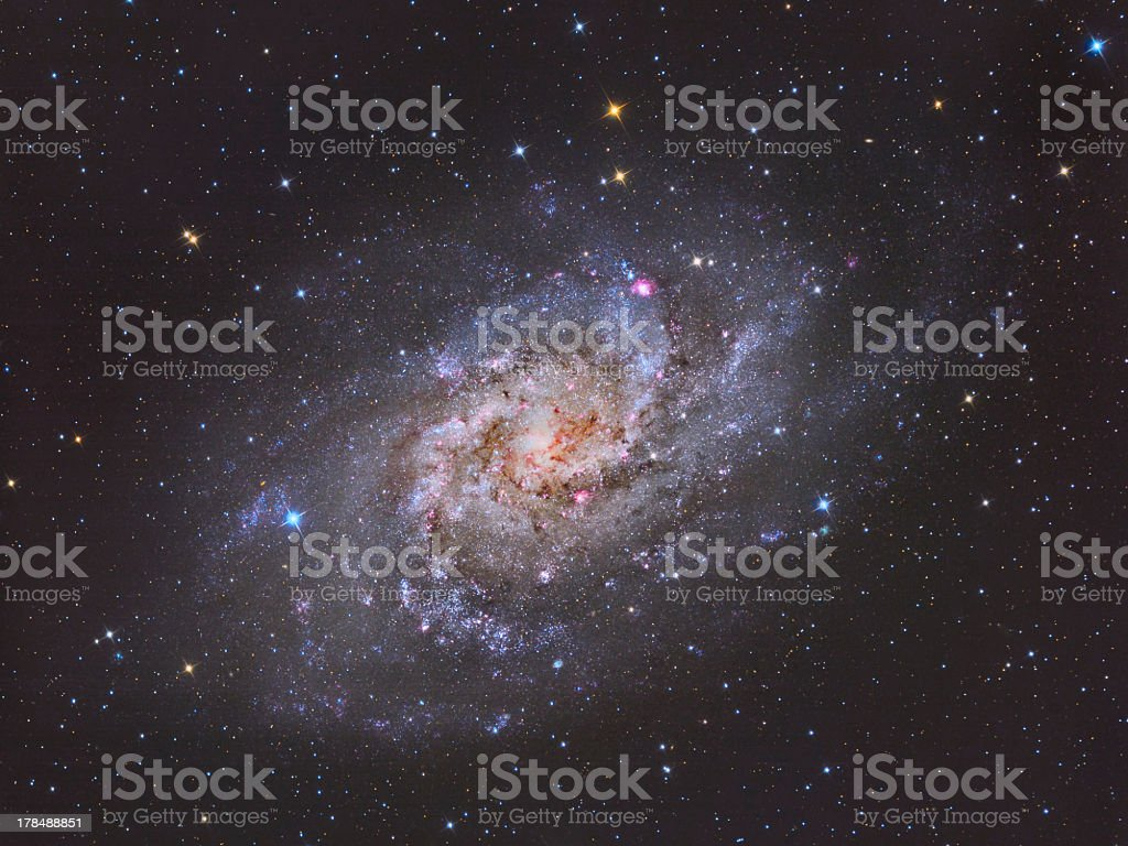 A colorful portrait of the Triangulum Galaxy M33 stock photo