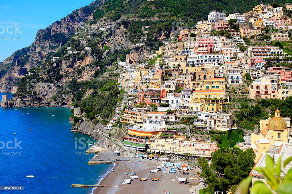 Colorful Positano, turquoise sea, Amalfi Coast, Bay of Naples stock photo