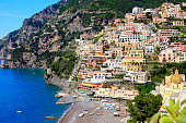 Colorful Positano, turquoise sea, Amalfi Coast, Bay of Naples
