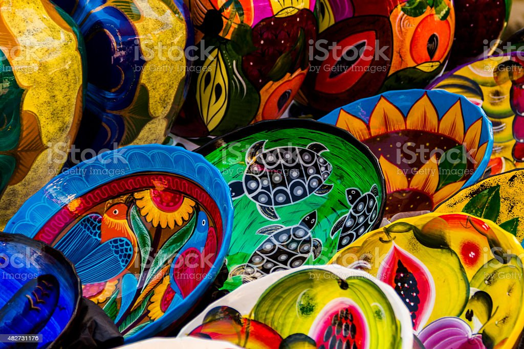 Colorful pottery at Mexican market. stock photo
