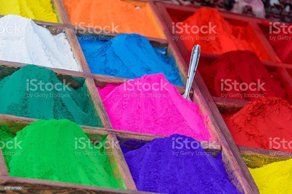 Colorful powders in Kathmandu stock photo