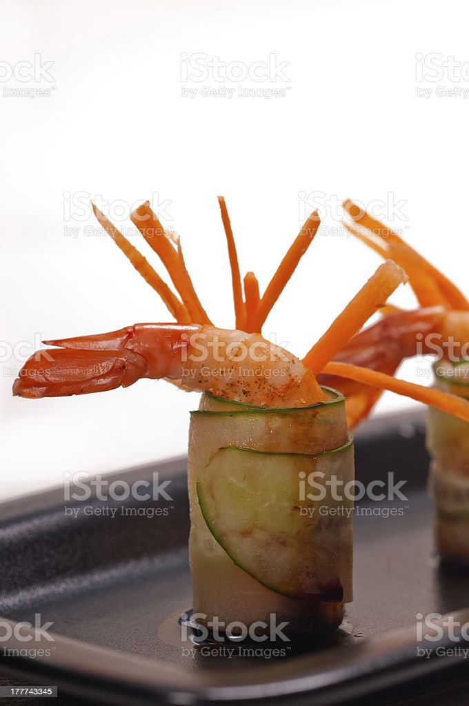 colorful  prawn shrimps appetizer snack royalty-free stock photo