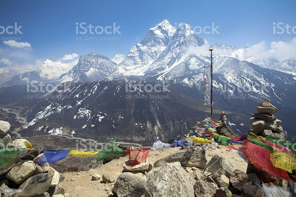 Colorful prayer flags, Himalayas royalty-free stock photo