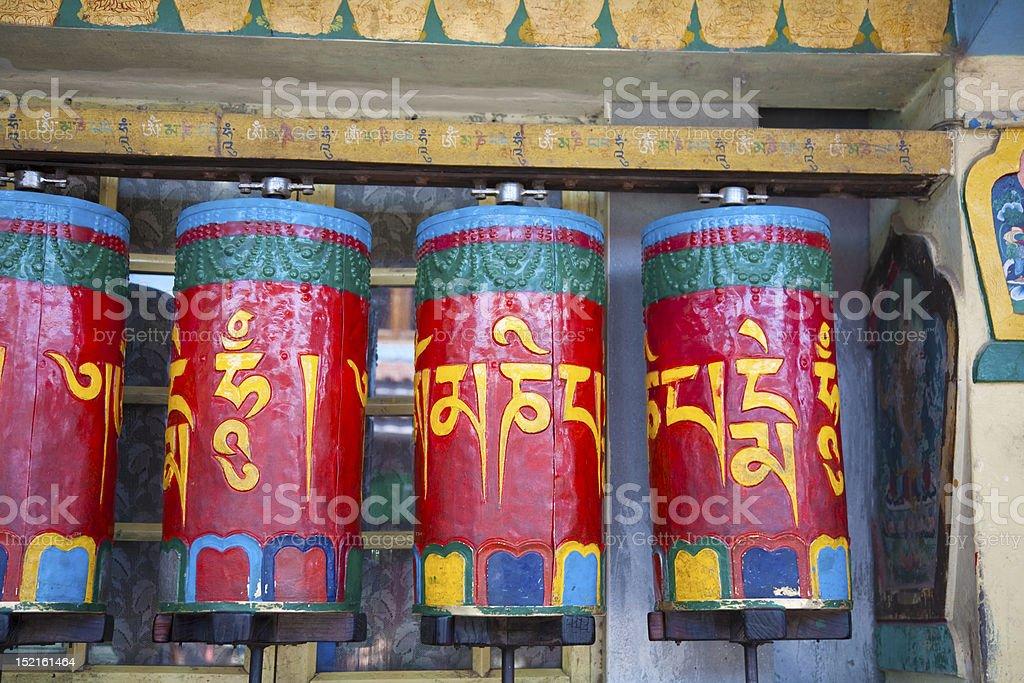 colorful prayer wheels in Dharamshala royalty-free stock photo