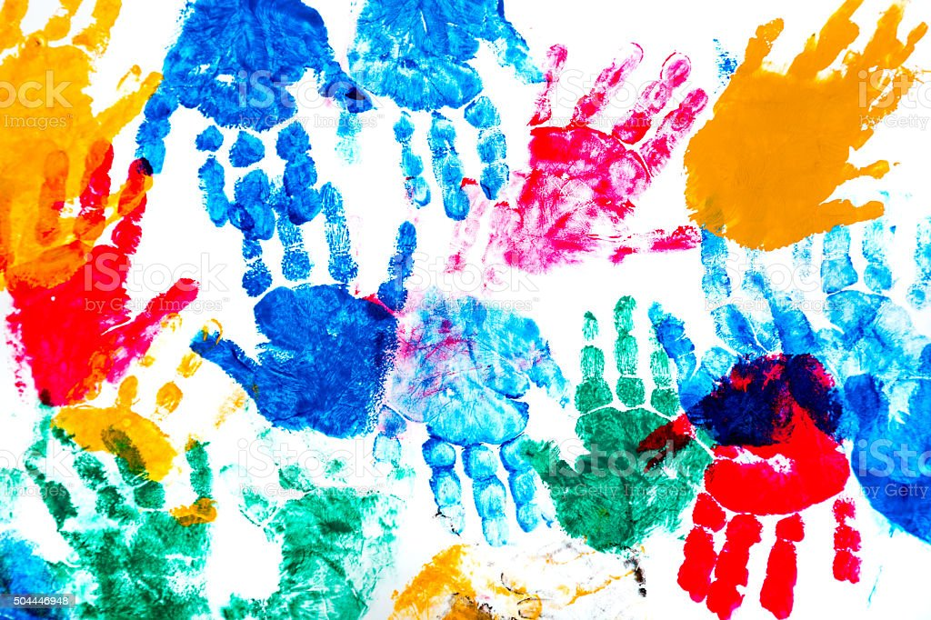 Colorful Prints Of Children's Hands stock photo