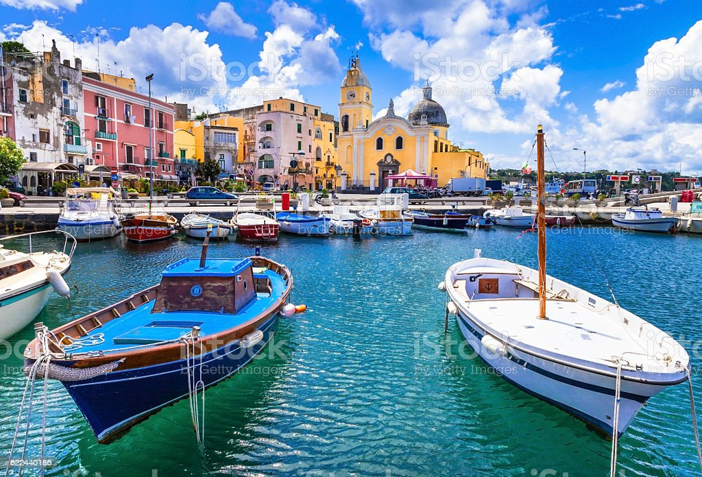 colorful Procida island in Campania, Italy stock photo