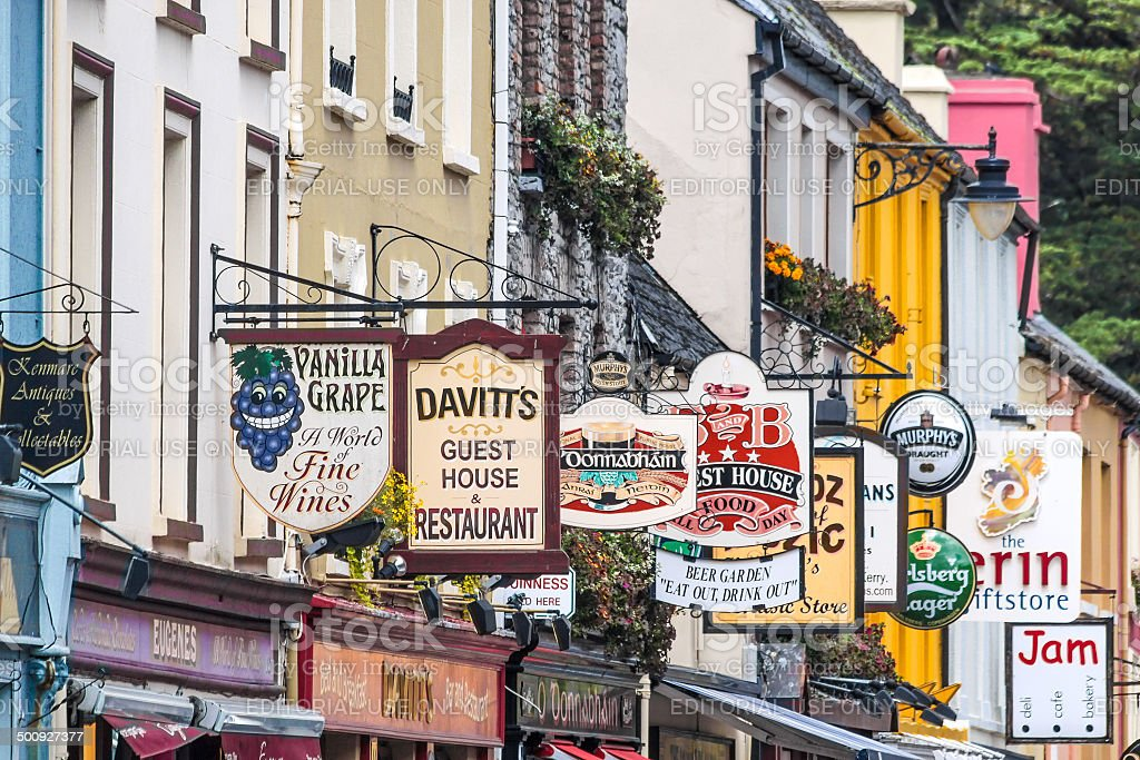 Colorful pub signs in Kenmare stock photo