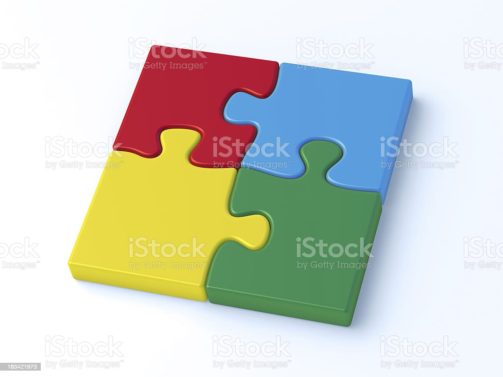Colorful Puzzle Four Pieces Complete royalty-free stock photo
