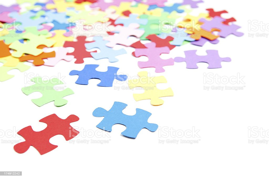 Colorful Puzzle Pieces Isolated on White royalty-free stock photo