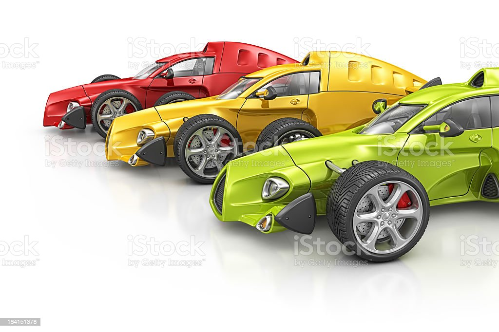 colorful racecars stock photo