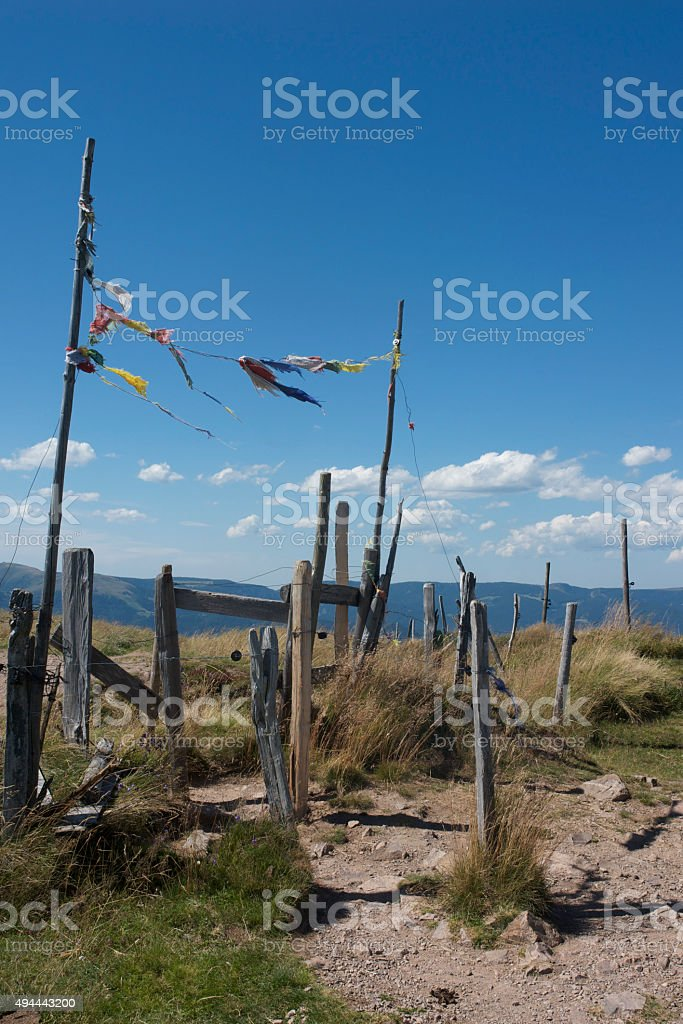 colorful rags fluttering on a mountain top, France (Vosges) stock photo