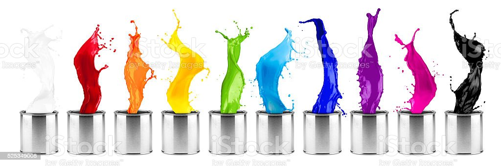 colorful rainbow color dose splash  row stock photo