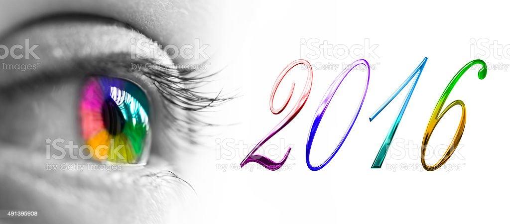 2016 colorful rainbow eye stock photo