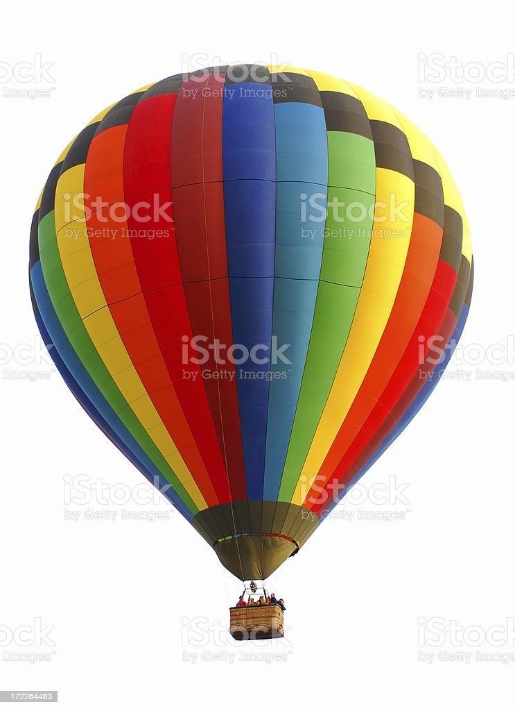 Colorful Rainbow Hot Air Balloon Isolated on White stock photo