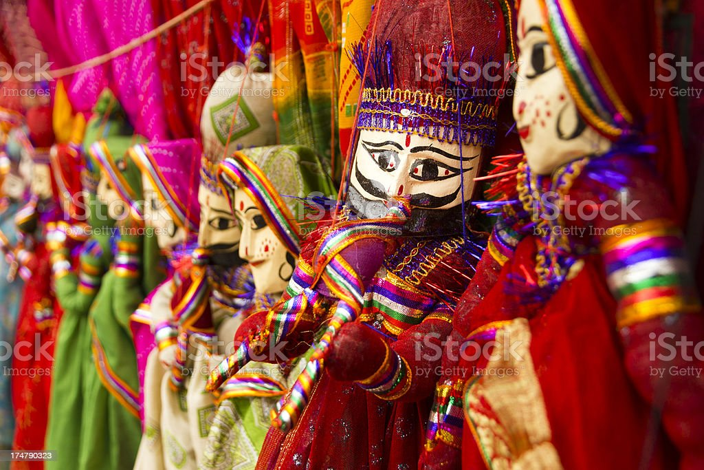 Colorful Rajasthani puppets stock photo