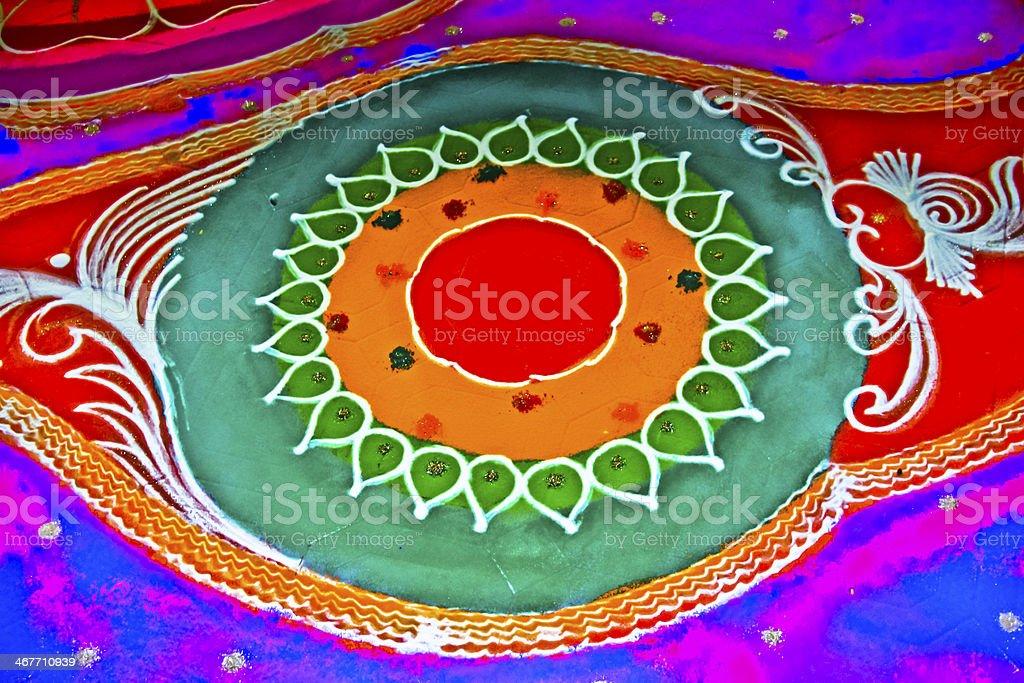 Colorful Rangoli during Diwali festival, Maharashtra, India stock photo
