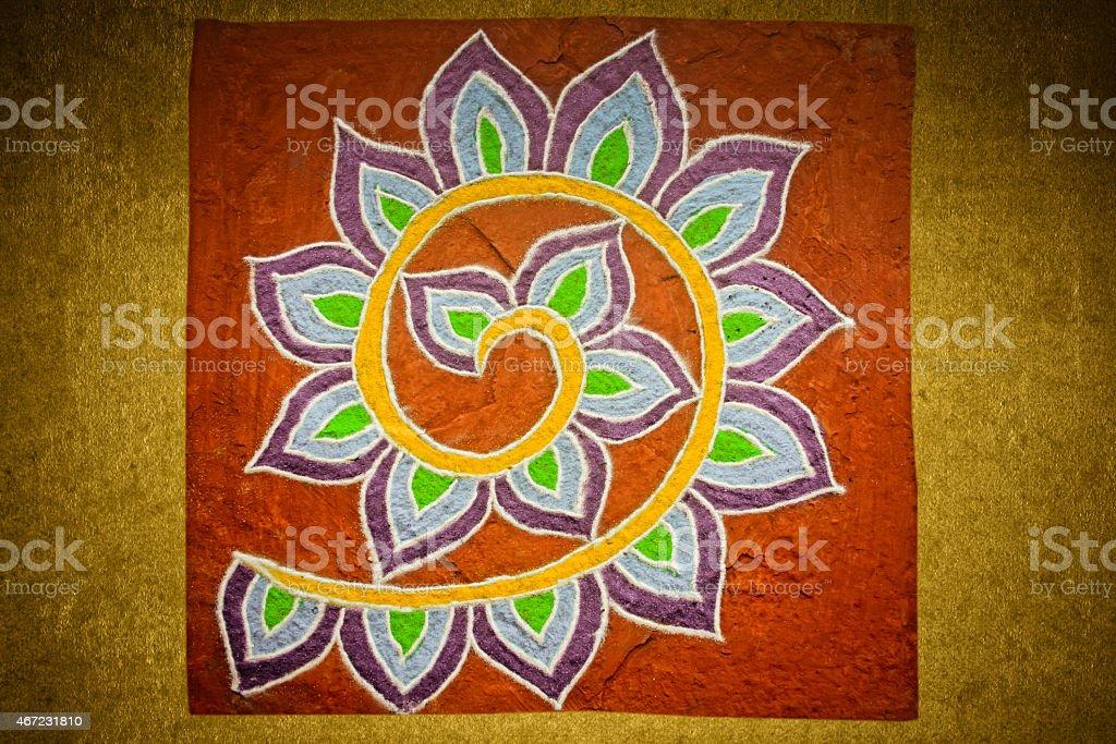 Colorful Rangoli during Diwali festival, stock photo