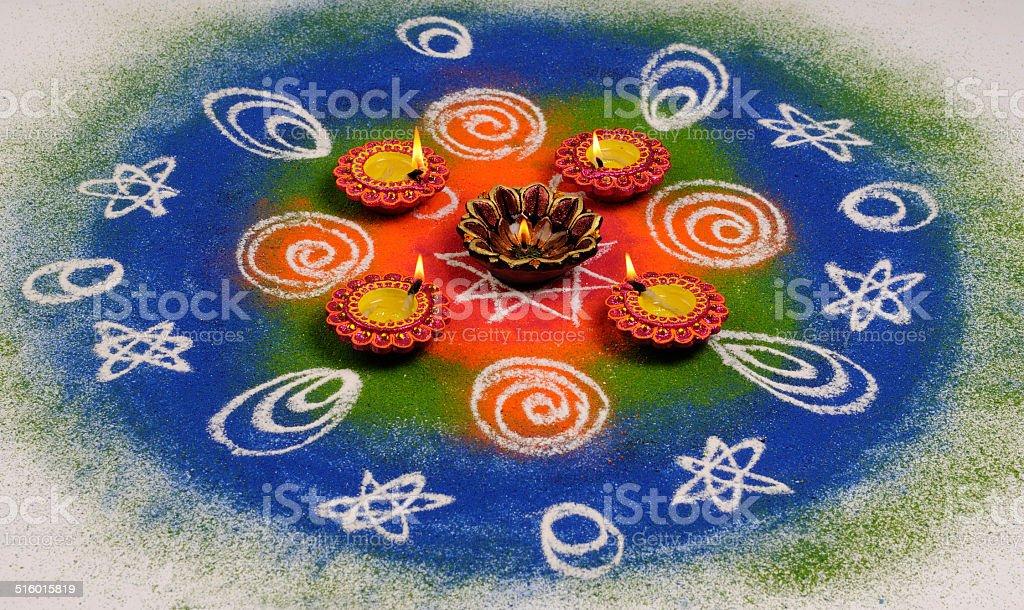 Colorful Rangoli for the Hindu Diwali Festival stock photo