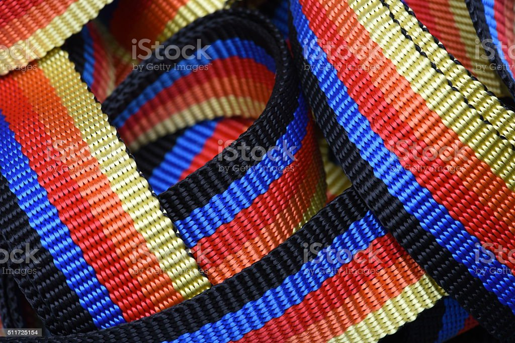 Colorful ratchet strap for cargo stock photo