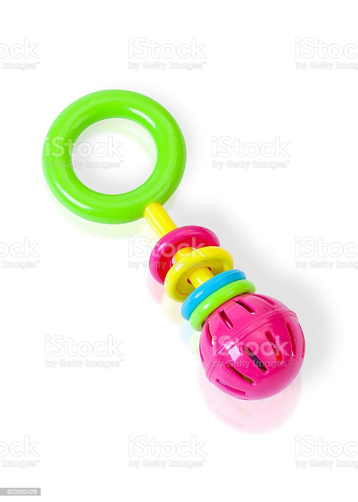 Colorful rattle baby toy stock photo