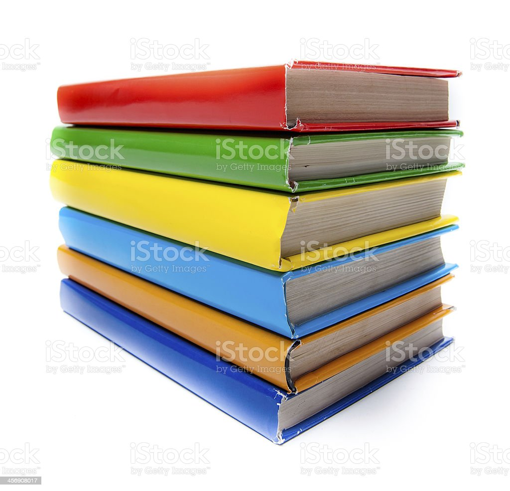 Colorful real books on white background royalty-free stock photo