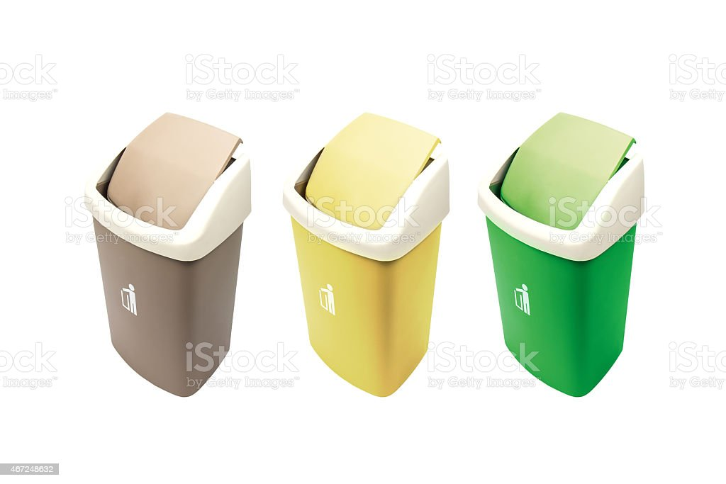 Colorful Recycle Bins Isolated Over White Background. royalty-free stock photo