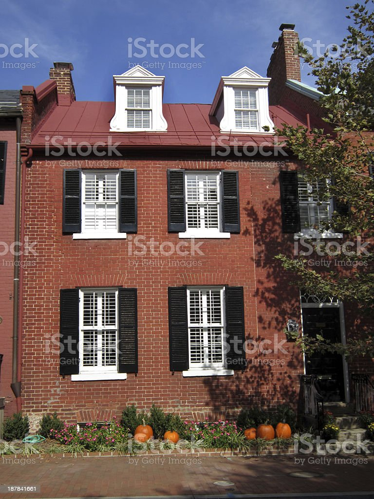 Colorful Red Brick House in Georgetown stock photo