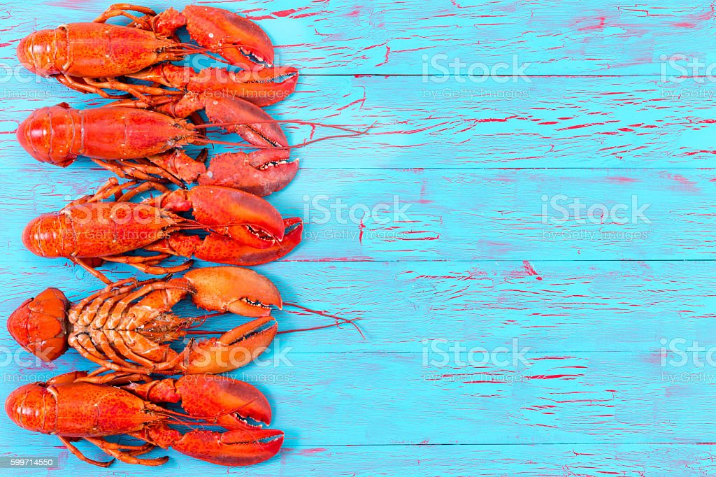 Colorful red lobster border on blue wood stock photo