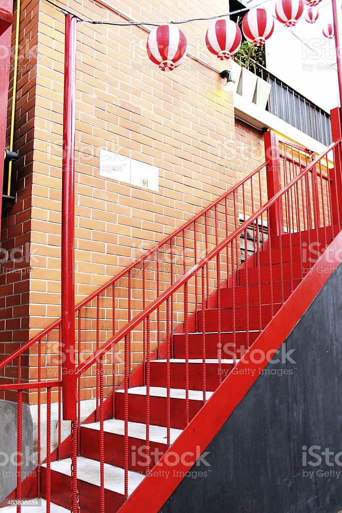 Colorful Red Stairs at Japanese Restaurant in Thailand. stock photo