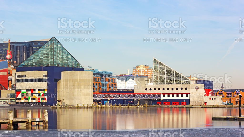 Colorful reflections of National Aquarium buildings in ice. stock photo